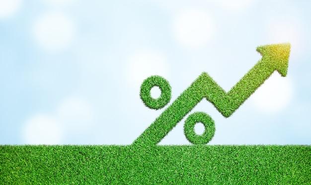矢印とパーセント記号の付いた草は、成長の成長の概念を成功させるビジネス開発