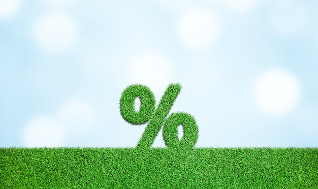 パーセント記号の付いた草シンボルビジネスの成長を成功の成長概念に開発