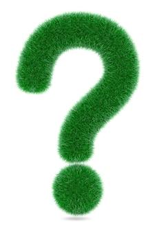 흰색 바탕에 잔디 질문 기호입니다. 3d 렌더링