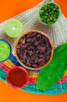 バッタのチャプリネススナック。伝統的なメキシコ料理
