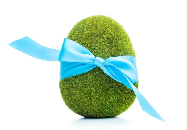 Grassy easter egg on white background.