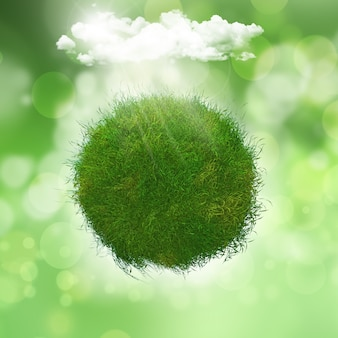 Grassy globe under a cloud with sunlight