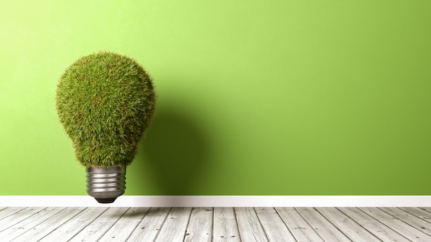 Grassy light bulb on wooden floor