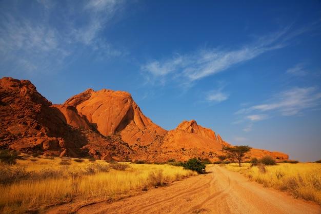 Gravel road  in african bush, namibia