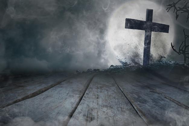 나무 배경에 달이 있는 무덤과 십자가, 할로윈 개념
