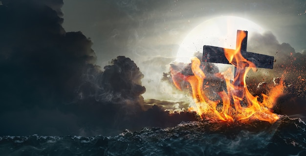 할로윈 컨셉의 배경에 달이 있는 무덤 불