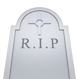 Gravestone on isolated white background. 3d rendering
