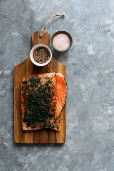 Gravlax or gravlaks is a nordic dish consisting of raw salmon, cured in salt, sugar, and dill