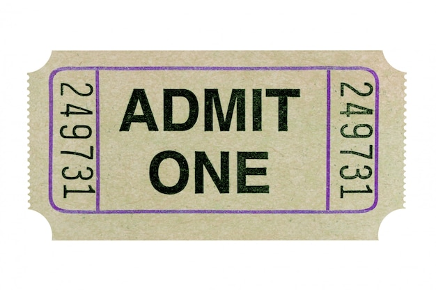 Gray admission ticket isolated on white background.
