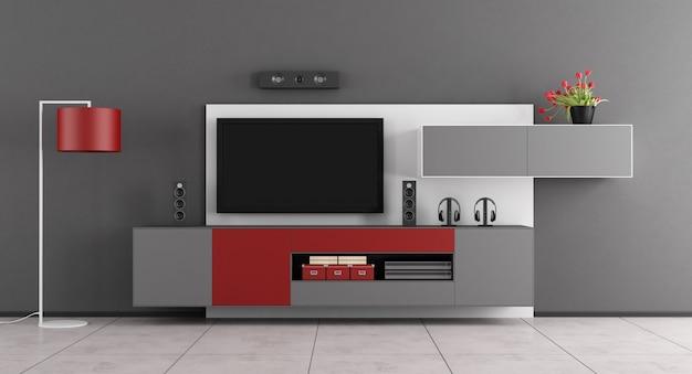 テレビ付きのグレーと赤のリビングルーム-3dレンダリング