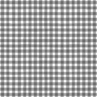 灰色と白のグランジギンガムタータンチェック柄抽象的な幾何学的なシームレスパターンの背景。手描きのシームレスなテクスチャ。壁紙、ラッピング、テキスタイル、ファブリック