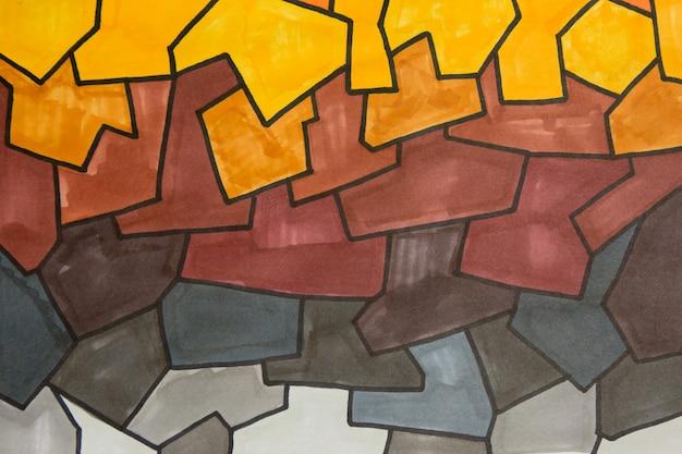Серый и желтый маркер произведения искусства текстуры абстрактный фон