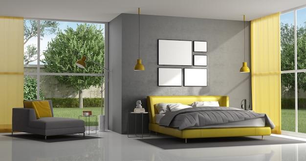회색과 노란색 마스터 침실