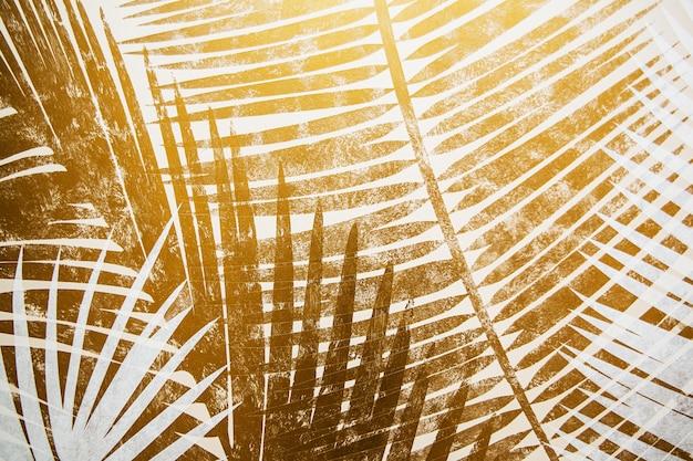灰色と黄色。分割された抽象上の熱帯の葉。