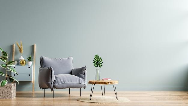 灰色のアームチェアとリビングルームのインテリアに木製のテーブル、植物、紺色の壁。3dレンダリング