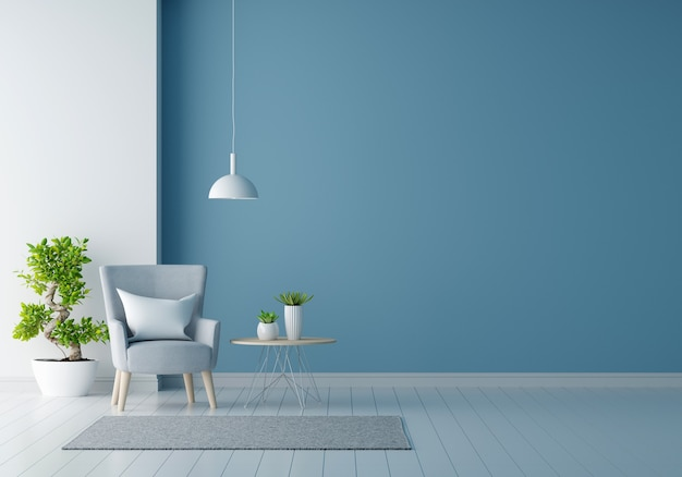 Gray armchair in blue living room with copy space