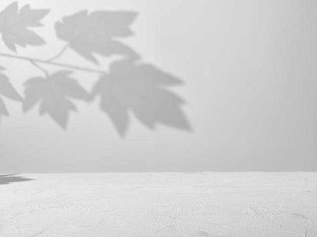 木の枝からの自然な影と製品プレゼンテーションの灰色の背景