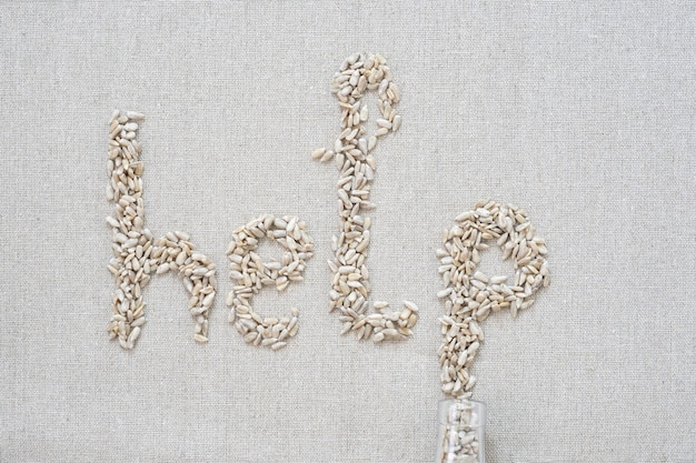 On a gray background, there are seeds in the form of letters and the word