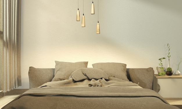 Gray bed room japanese design. 3d rendering