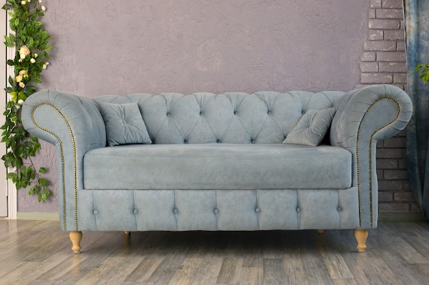 Gray-blue sofa stands near grey wall in the room. interior design