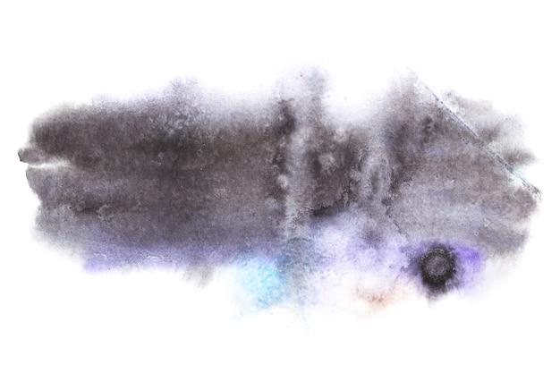 白で隔離されるウェットエッジのグレーブルー水彩ステイン。抽象的な背景、あなた自身のテキストのためのスペース