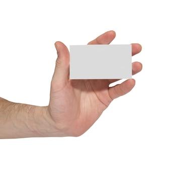 白で隔離手に灰色のカード空白。