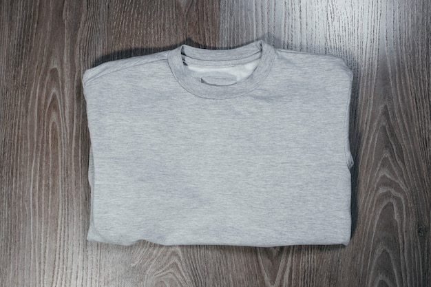 Gray casual adult pullover. back top view