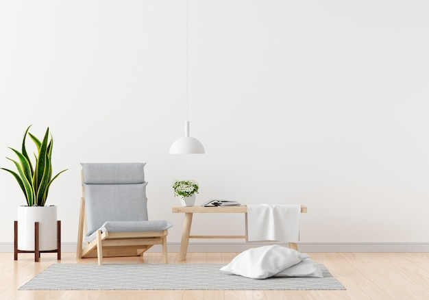 Gray chair in white living room