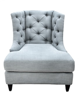 Gray classical vintage modern style armchair with fabric upholstery isolated on white