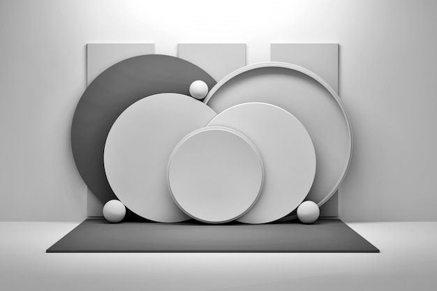Gray composition with circles and balls