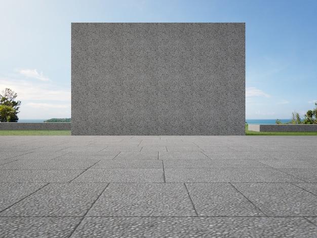 Серая бетонная стена на пустой открытой террасе