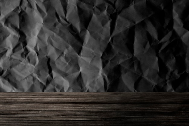 Gray crumpled textured with wooden plank product background