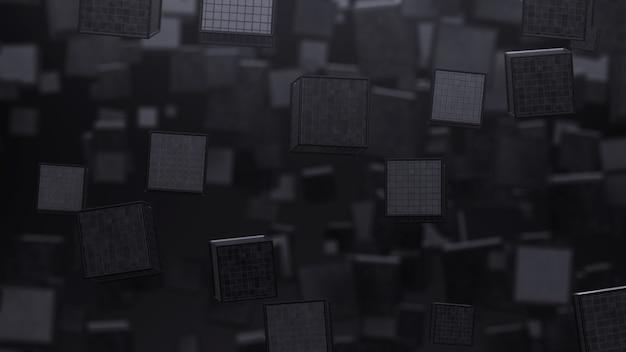 飛んでいる灰色の立方体