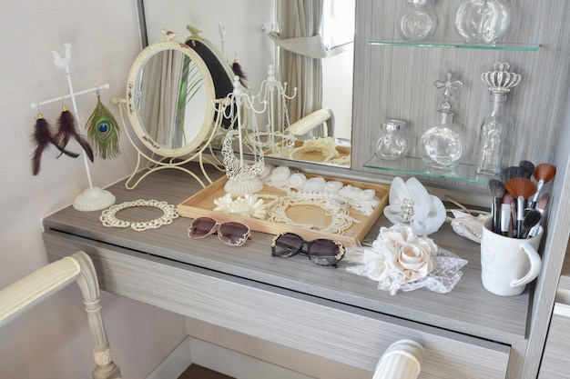 Gray dressing table with accessories at home