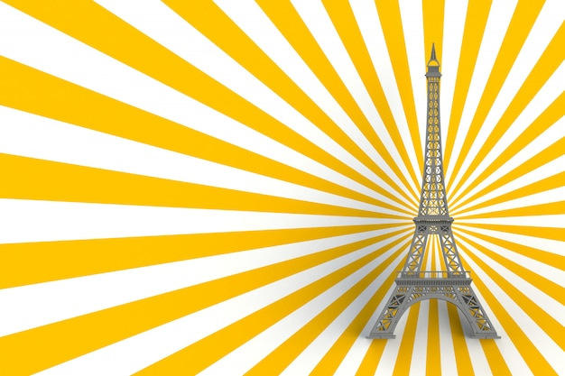 Gray eiffel tower on striped yellow background, 3d rendering