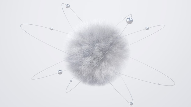 灰色のふわふわ球と金属球。抽象的なイラスト、