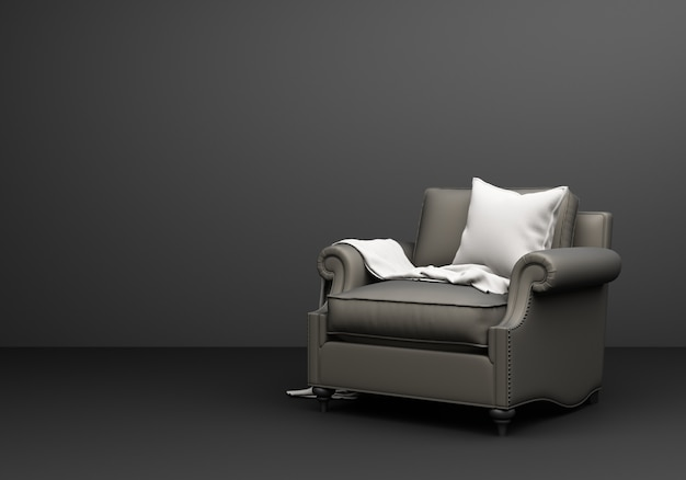 회색 가구 클래식 소파 안락 의자 검은 배경 3d 렌더링에 재미 구성