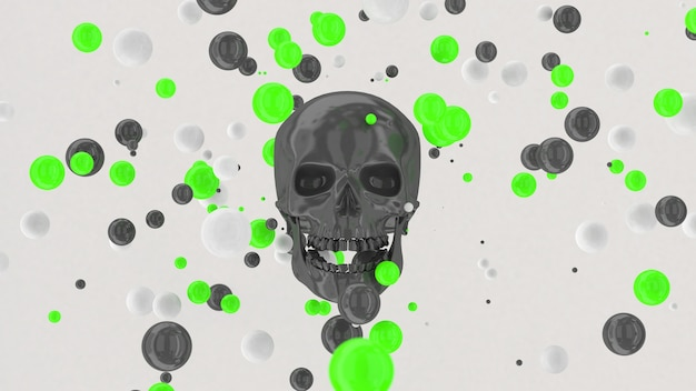 灰色の光沢のある頭蓋骨、緑と白のボールが飛んでいます。抽象的なイラスト、3dレンダリング。