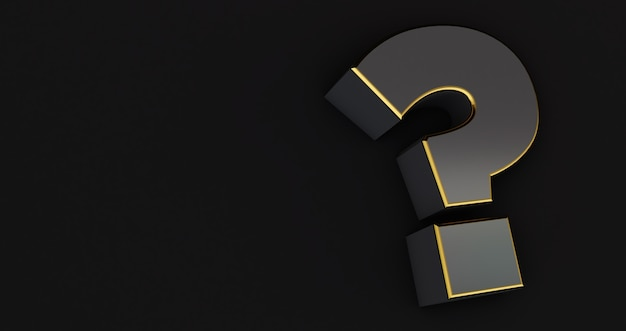 Gray and golden question mark isolated on a black background.