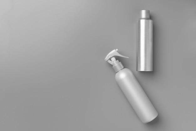 Gray haircare product on gray