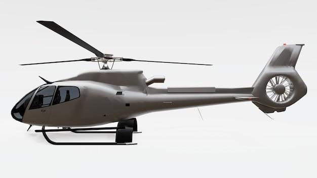 회색 헬리콥터 흰색 배경에 고립입니다. 3d 그림입니다.