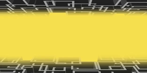 黄色の背景の上の灰色の複雑な正方形のフレーム3dイラスト抽象的なシーン