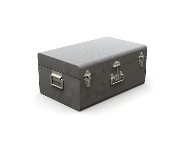 Серый кожаный чемодан с изысканными застежками. классический премиальный дизайн с многовековыми традициями. современная новинка в винтажном стиле. 3d иллюстрации.
