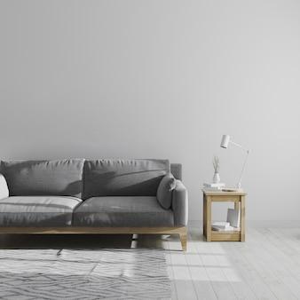 회색 거실 인테리어, 스칸디나비아 스타일의 거실 인테리어, 회색 소파가있는 미니멀 룸, 3d 렌더링