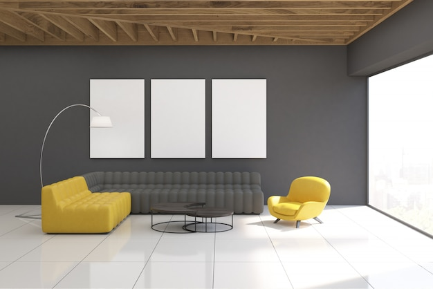 Gray living room interior with gallery