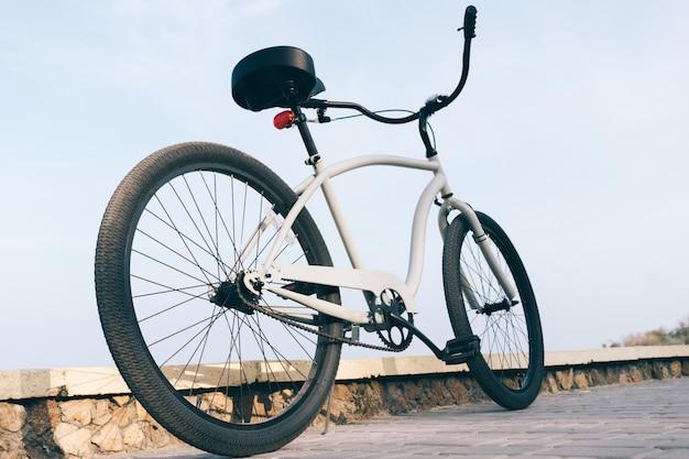 Gray male steel cruise bike outdoors