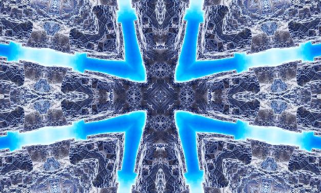 파란색 배경에 회색 대리석 만화경입니다. 추상 라인 페인팅. 대리석 수채화. 실버 만화경 색상. 화이트 스테인드 글라스 아트. 대리석 질감. 혼합 페인트