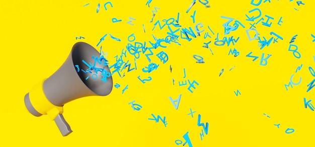 노란색 표면에 많은 파란색 글자를 던지는 노란색 세부 사항이있는 회색 확성기