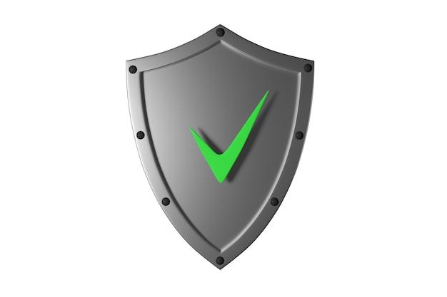 安全性を確認するリベットと緑のチェックマークが付いた灰色の金属シールド3dイラスト