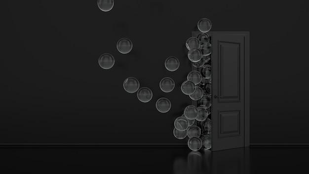 Серые металлические воздушные шары улетают через открытую дверь в интерьере офиса